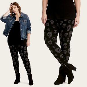 Torrid Black & Grey Skull Sweater Knit Legging 2X